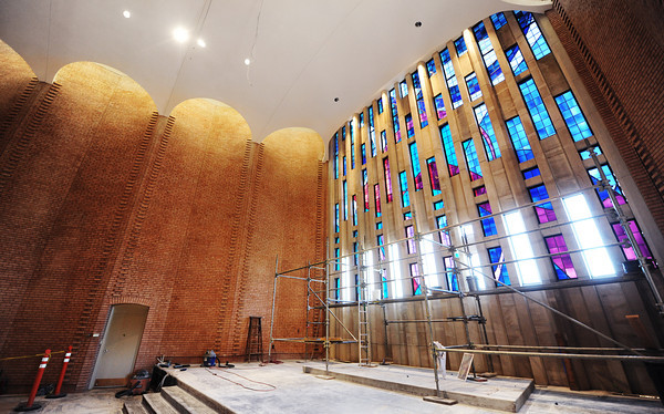 Globe/T. Rob Brown<br /> Progress continues on the sanctuary Monday morning, Oct. 15, 2012, at First Community Church in Joplin. The church's original stained glass and more were destroyed during the May 22, 2011, tornado.