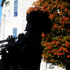 Globe/Roger Nomer<br /> The Purdy Eagles Band marches past a row of maple trees by the Carthage Courthouse on Saturday morning.