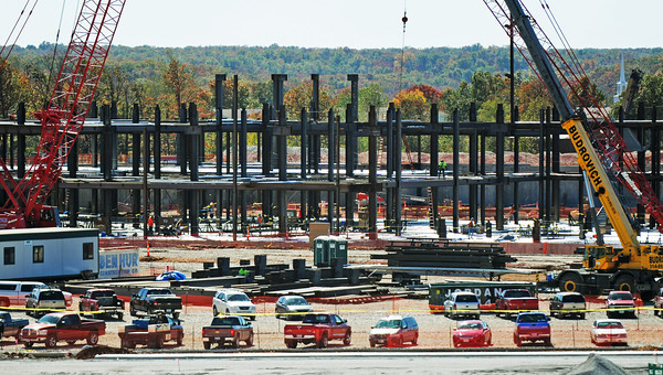 Globe/T. Rob Brown<br /> Construction continues Thursday afternoon, Oct. 18, 2012, at the new Mercy hospital.