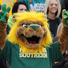 Globe/Roger Nomer<br /> Missouri Southern's new mascot, Roary, makes his home football game debut during homecoming on Saturday at Fred G. Hughes Stadium.