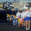 Globe/Roger Nomer<br /> The Seneca High School flag team marches in Saturday's Maple Leaf Parade in downtown Carthage.