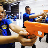 Globe/T. Rob Brown<br /> Junior Leigh Ann Craig, left, and senior Adam Wirth run firearm drills with the rest of their class Monday morning, Oct. 22, 2012, during the grand opening celebration for the remodeled Career Center and Public Safety departments at the Carthage Technical Center - North Campus.