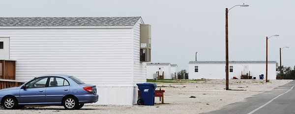 Globe/T. Rob Brown<br /> Some streets are less-populated in the FEMA mobile home park near the Joplin Regional Airport, Tuesday afternoon, Oct. 9, 2012.