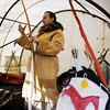 Globe/T. Rob Brown<br /> Jill Franks of Jasper talks about native American equipment, furs and tools during a demonstration for Pittsburg, Kan., elementary school students Friday afternoon, Oct. 26, 2012, at Cato, Kan. The shield, at right, is made of rawhide and was widely used to deflect early musket balls.