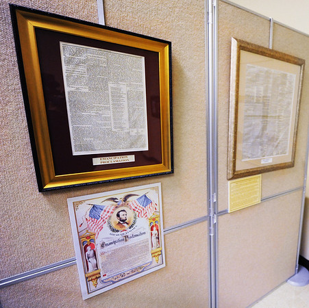 "Globe/T. Rob Brown<br /> Antique copies/printings of Abraham Lincoln's ""Emancipation Proclamation"" and ""Gettysburg Address"" are on display in a new Civil War history exhibit Tuesday morning, Oct. 2, 2012, at the Joplin Museum Complex."