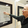 """Globe/T. Rob Brown<br /> Allen Shirley talks about a detailed Civil War battle map on the front of a historic edition of """"The New York Herald"""" Tuesday morning, Oct. 2, 2012, in a new Civil War history exhibit at the Joplin Museum Complex."""