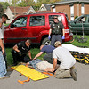 Rider suffers head injuries<br /> Rod Rose The Lebanon Reporter<br /> BICYCLIST INJURED: Police, Boone County EMS paramedics and passers-by care for a 15-year-old Lebanon boy who was struck by a red Jeep Liberty about 3:$7 p.m. Thursday, before he was taken to Riley Children's Hospital, Indianapolis, for treatment of head injuries. Police said the teen was riding the bicycle in background north on Lebanon Street when Paul Edlin, 73, Lebanon, pulled out of the Domino's Pizza lot onto Chicago Street. Edlin told police he did not see the bicyclist, officers said.