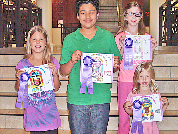 BACK TO THE FIFTIES COLORING CONTEST WINNERS submitted photo COLOR COORDINATORS: Winners of this year's Back to the Fifties Coloring Contest were, from left, Emma Nienaba, six to eight age group, Ronaldo Bernal Santos, 11 to 12 age group, Rachael Bowman, nine to 10 age group, and June Dimiceli, three to five age group.