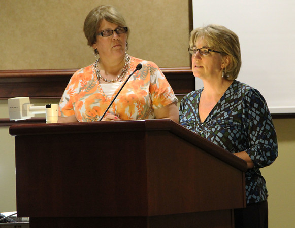 REQUEST TIME: First Presbyterian Church project coordinator Cyndi Miller (left) stands with Pastor Terri Thorne while addressing the city council.