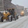 KRISTOPHER RADDER - BRATTLEBORO REFORMER<br /> Crews move snow off Main Street during the winter storm on Thursday, Jan. 4, 2018.
