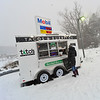 KRISTOPHER RADDER - BRATTLEBORO REFORMER<br /> Cara Meinke, of Dummerston, Vt., braves the snow and wind to order a meal from Tito's Taqueria, off Exit 3 on I-91 in Brattleboro, Vt., during the winter storm on Thursday, Jan. 4, 2018.  Meinke said that being busy with opening up a new business and picking her children up early from school, she didn't have an opportunity to eat.