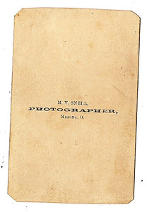 COURTESY RONALD CHOJNACKI  Shown is the reverse side of the photo of an unidentified Civil War officer from Medina.
