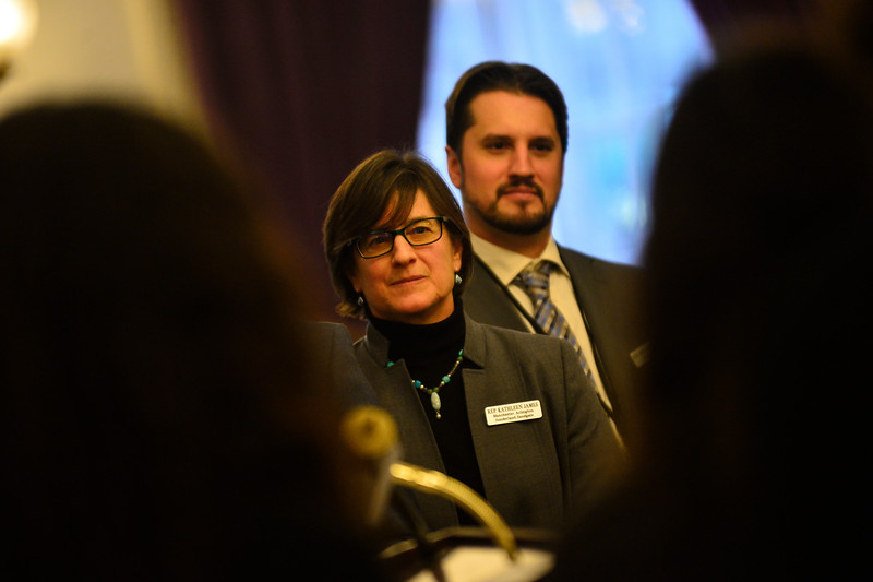 KRISTOPHER RADDER — BRATTLEBORO REFORMER<br /> Bennington 4 House district, Democrat Kathleen James talks during the New Voices, Bold Solutions Press Conference on Wednesday, Jan. 9, 2019.