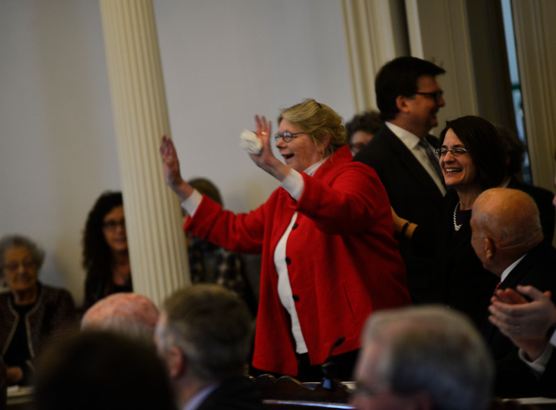 KRISTOPHER RADDER — BRATTLEBORO REFORMER<br /> Vermont State Senator Jeanette White, D-Windham,  smiles, and waves while entering the Senate chambers of the Vermont Statehouse, in Montpelier, during the first day of the legislative session on Wednesday, Jan. 9, 2019.