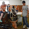 HALEY WARD | THE GOSHEN NEWS <br /> Ellie Wenger tosses a rope onto the cattle as Loveway volunteer Michael Pippenger looks onduring ADEC's summer camp on Friday at Loveway, Inc.