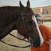 HALEY WARD | THE GOSHEN NEWS <br /> Ellie Wenger pets a horse during ADEC's summer camp on Friday at Loveway, Inc. The summer camp, which has about 40 campers, goes to field trips every Friday like Loveway, go-karts and a petting zoo.