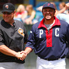 Colonials coach, Brian Daubach, and Worcester manager, Rich Gedman, shake hands and take a moment to chat before the beginning of their exhibition game at Wahconah Park on sunday afternoon.  Pittsfield, 5/23/10 - Ian Grey
