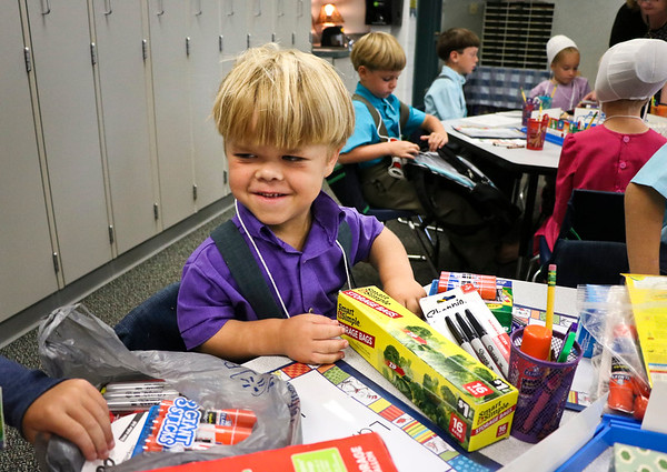 LEANDRA BEABOUT | THE GOSHEN NEWS<br /> Kindergartener Jesse Lambright looks excited on the first day of school at Meadowview Elementary School.