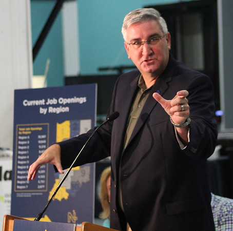 Roger Schneider | The Goshen News<br /> Gov. Eric Holcomb speaks thursday abotu the new NextLevel Jobs training program that he has been talking about during stops around the state.