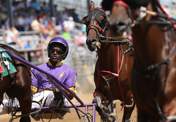 JAY YOUNG | THE GOSHEN NEWS<br /> Jordan Ross competes  in the one mile pace race Tuesday morning on the final day of harness racing at the Elkhart County 4-H Fair.