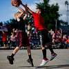 JAY YOUNG | THE GOSHEN NEWS<br /> Nine-year-old Braxton Cline, right, blocks a shot attempt by Braxton Wallace, 11, as they compete in the three-on-three basketball tournament Monday evening at the Elkhart County 4-H Fair.