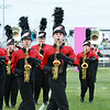 Stacey Diamond | The Goshen News<br /> From left, Alex Wiseman, S. Schlatter and Ethan Ramer  lead their NorthWood formation at ISSMA Class C Semi-State  at Decatur Central High School.
