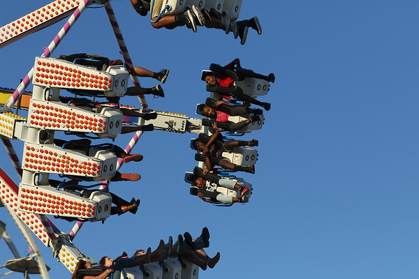 JAY YOUNG | THE GOSHEN NEWS<br /> Fair goers enjoy rides Friday evening at the Elkhart County 4-H Fair.