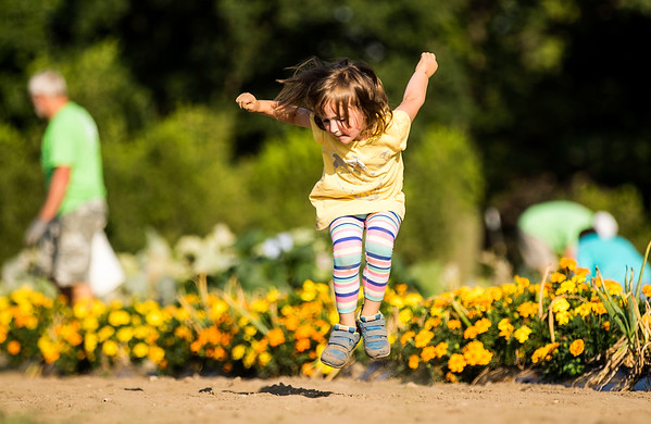 JAY YOUNG | THE GOSHEN NEWS<br /> Three-year-old Shelby Krouser, of Elkhart, leaps high in the sky as she lets off some energy Monday evening while playing in the Seed to Feed garden located at River Oaks Community Church. Krouser's mother, along with other volunteers, were picking vegetables and cleaning up the garden.