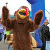 LEANDRA BEABOUT | THE GOSHEN NEWS<br /> Gobbles the Turkey, aka Cody Mishler, takes the lead in the 1-mile walk for the 2017 Turkey Stampede.