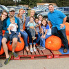 Roger Schneider | The Goshen News<br /> The Weddle and Storer families used some large pumpkins at Kercher's Sunrise Orchard and Farm Market as props as they pose for a family photo Saturday. From left are Esther, Jordan and Micah Weddle, Ashley Store, Julie Weddle and Evelyn, Isaac, Madeline, Molly and Adam Storer. The Weddles are from Goshen and the Storers are formerly of Goshen and now live in Washington, D.C.