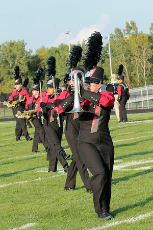 Jaci Hochstetler leads a line with her mellophone for the Northwood Red Regiment.