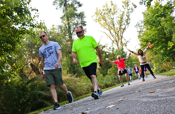 LEANDRA BEABOUT | THE GOSHEN NEWS<br /> Maple City Walk participants enjoyed time outside to converse, enjoy nature and have a bit of fun.