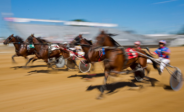 JAY YOUNG | THE GOSHEN NEWS<br /> Competitors in the first race speed past the grand stand Tuesday morning on the final day of harness racing at the Elkhart County 4-H Fair.