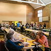 LEANDRA BEABOUT | THE GOSHEN NEWS<br /> A steady stream of diners passed through Goshen's First United Methodist Church to partake in a free community Thanksgiving dinner.