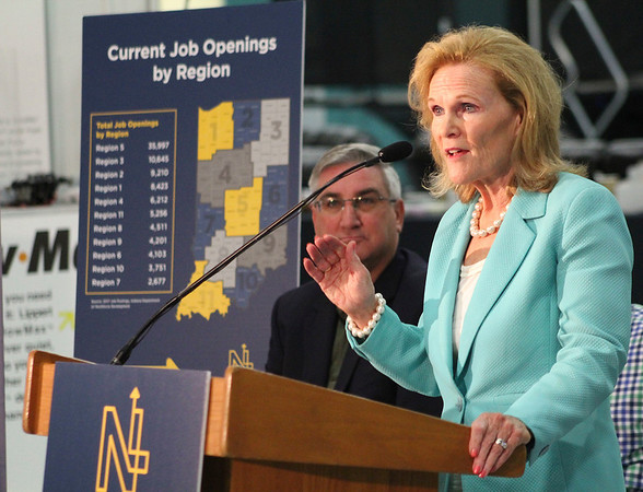 Roger Schneider | The Goshen News<br /> Teresa Lubbers, Indiana's commissioner for higher education, speaks about the NextLevel Jobs program Thursday as Gov. Eric Holcomb listens.