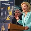 Roger Schneider | The Goshen News<br /> Teresa Lubbers, Indiana's commissioner for higher education, speaks about the NextLevel Jobs program Thursday as Gov. Eric Holcomb listens.