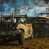JAY YOUNG | THE GOSHEN NEWS<br /> Kane Johnson, left, puts a hit on Adam Pressler as the two battle in the featured heat of the demolition derby Saturday evening at the Elkhart County 4-H Fair.