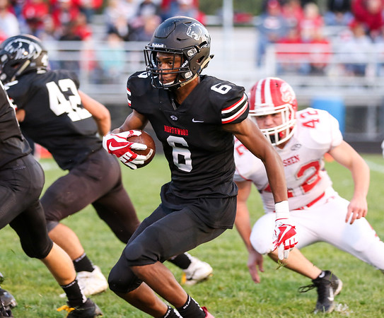 CHAD WEAVER | THE GOSHEN NEWS<br /> NorthWood wide receiver Terrell Pratcher finds some running room during a kickoff return in the second quarter of Friday night's game against Goshen at NorthWood.