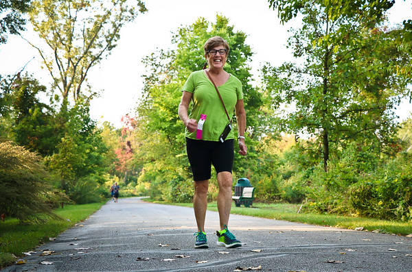 LEANDRA BEABOUT | THE GOSHEN NEWS<br /> Marilyn Graber of Goshen led the pack as walkers reached Abshire Park.