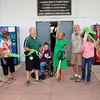 JOHN KLINE | THE GOSHEN NEWS <br /> Surrounded by family members, Fair Board President Jill Garris, center, cheers following a ribbon-cutting ceremony at the Sheep/Swine Arena early Friday morning officially launching the 2017 Elkhart County 4-H Fair. Pictured with Garris, from left, are: brother Joe Leatherman and wife, Peg; husband Jesse Garris; niece Sara Lung; brother Jon Leatherman and wife, Jennifer; and mother-in-law Miriam Garris.