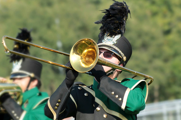 "Keegan Cook plays the trombone during Wawasee's ""The Quest for the Scept<br /> er of Light,""  performance."