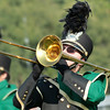 """Keegan Cook plays the trombone during Wawasee's """"The Quest for the Scept<br /> er of Light,""""  performance."""