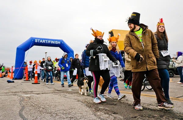 LEANDRA BEABOUT | THE GOSHEN NEWS<br /> Both the 5k and one-mile walks allowed participants to enjoy the Turkey Stampede at a more lesuirely pace.