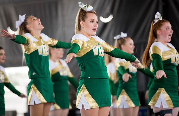 JAY YOUNG | THE GOSHEN NEWS<br /> The Wawasee High cheer squad performs while competing in the 44th annual cheerleading contest that is part of the Elkhart County 4-H Fair Friday afternoon. Three cheer squads took part in the competitive portion of the event, with Concord taking first place, Wawasee High taking second place and Oregon-Davis High placing third. John Adams High was also on hand as the only squad competing in the spirit squad portion of the event. Other activities included a jump off and demonstrations by Indiana Ultimate.