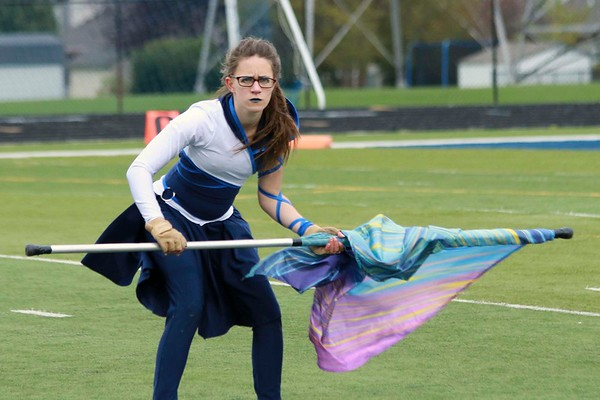 """Stacey Diamond   The Goshen News<br /> Nikki Miller shows her fierce face required during the Fairfield Marching Pride's performance of """"Pelagic."""""""
