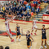 BRANDEN BEACHY | THE GOSHEN NEWS<br /> Junior Bryant Robinson, No. 44, of the Goshen RedHawks launches the game-winning 3-pointer in a 44-43 high school boys basketball victory over the Fairfield Falcons Saturday night at Goshen. Fairfield defenders are No. 2 junior Payton Faldoe, No. 11 senior Luke Stephens and No. 12 junior Cordell Hofer. Also in the play is No. 31 senior Simon Myers of the RedHawks.