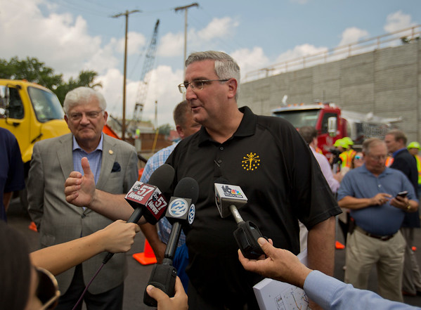 JAY YOUNG | THE GOSHEN NEWS<br /> Indiana governor Eric Holcomb answers questions from the media following a press conference Monday afternoon in Goshen about state-wide infrastructure projects.