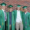 Stacey Diamond   The Goshen News<br /> Spencer Lehman, Blake Mawhorter, Nick Kiepe and Arunrat Lapsongsakul, a foreign exchange student from Bangkok, Thailand, gather together before the Northridge High School graduation ceremony.