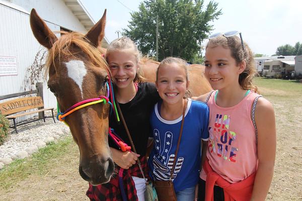 JOHN KLINE | THE GOSHEN NEWS<br /> Gaby Gates, 11, Sabrina Miller, 11, and Kendal Jones, 11, with horse, Emmy