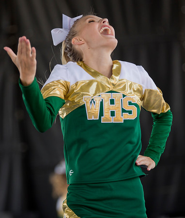 JAY YOUNG | THE GOSHEN NEWS<br /> A member of the Wawasee High cheer squad performs while competing in the 44th annual cheerleading contest that is part of the Elkhart County 4-H Fair Friday afternoon. Three cheer squads took part in the competitive portion of the event, with Concord taking first place, Wawasee High taking second place and Oregon-Davis High placing third. John Adams High was also on hand as the only squad competing in the spirit squad portion of the event. Other activities included a jump off and demonstrations by Indiana Ultimate.